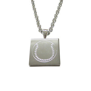 Silver Toned Etched Baseball Unisex Necklace